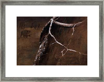 Snowy Branch With Wild Boars Framed Print