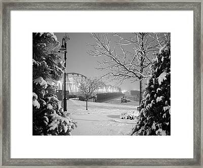 Snowy Bridge With Trees Framed Print by Jeremy Evensen