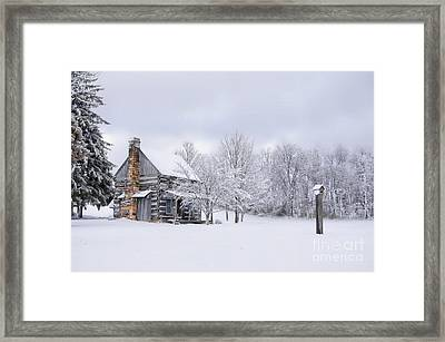 Snowy Cabin Framed Print by Benanne Stiens