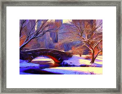 Snowy Central Park Framed Print by Caito Junqueira