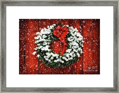 Snowy Christmas Wreath Framed Print