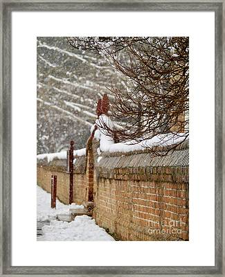 Snowy Church Wall And Gate Framed Print