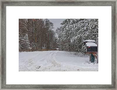 Snowy Country Lane Framed Print by Kathy Liebrum Bailey