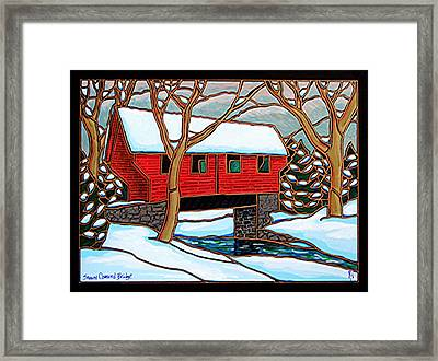 Snowy Covered Bridge Framed Print by Jim Harris