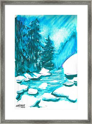 Framed Print featuring the mixed media Snowy Creek Banks by Seth Weaver