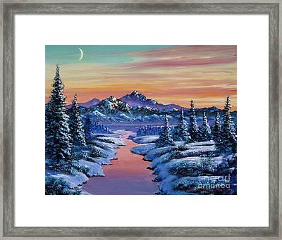 Snowy Creek Framed Print by David Lloyd Glover