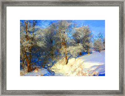 Snowy Creek Etc Framed Print by Julie Lueders