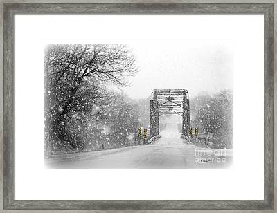 Snowy Day And One Lane Bridge Framed Print by Kathy M Krause