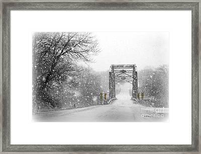 Snowy Day And One Lane Bridge Framed Print