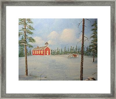 Snowy Day At School Framed Print