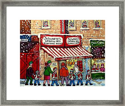Snowy Day At Schwartz's Deli Montreal Winter City Scene Painting Hockey Art Carole Spandau           Framed Print by Carole Spandau