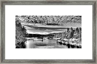 Snowy Day At The Green Bridge Framed Print by David Patterson