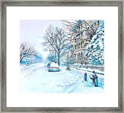Snowy Day Brooklyn  Framed Print