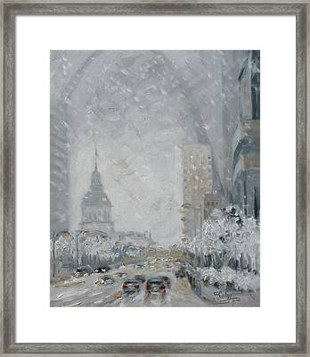 Snowy Day - Market Street Saint Louis Framed Print