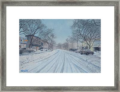 Snowy Day On Main Street, Sag Harbor Framed Print