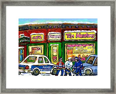 Snowy Day Original Canadian Hockey Art Paintings For Sale The Donut Shop Hot Coffee At Tim Horton's Framed Print by Carole Spandau