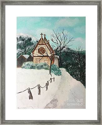 Framed Print featuring the painting Snowy Daze by Denise Tomasura