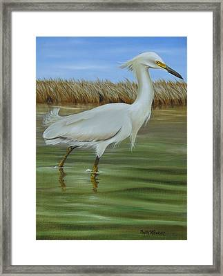Framed Print featuring the painting Snowy Egret 1 by Phyllis Beiser