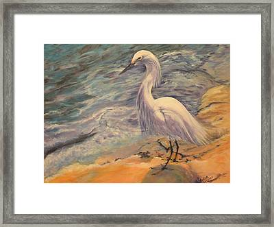 Framed Print featuring the painting Snowy Egret by Pauline  Kretler