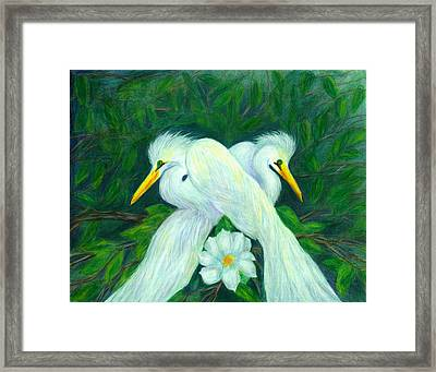 Framed Print featuring the painting Snowy Egrets by Jeanne Kay Juhos