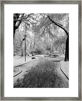Snowy Entrance To The Park Framed Print by Rae Tucker