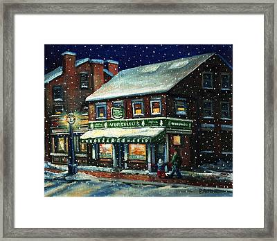 Snowy Evening In Gloucester, Ma Framed Print
