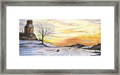 Framed Print featuring the digital art Snowy Farm by Darren Cannell