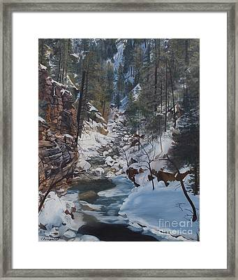 Snowy Forest Stream Framed Print