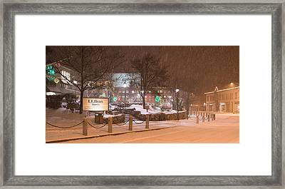 Snowy Night Freeport Maine Framed Print by Stan Dzugan