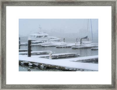 Snowy Harbor Framed Print