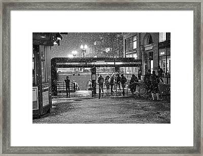 Snowy Harvard Square Night- Harvard T Station Black And White Framed Print