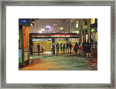 Snowy Harvard Square Night- Harvard T Station Framed Print