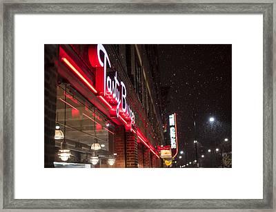 Snowy Harvard Square Night- Tasty Burger And The Garage Framed Print