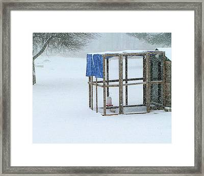 Framed Print featuring the photograph Snowy Hen House by Barbara Giordano