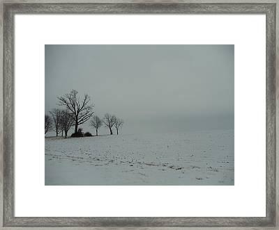 Snowy Illinois Field Framed Print