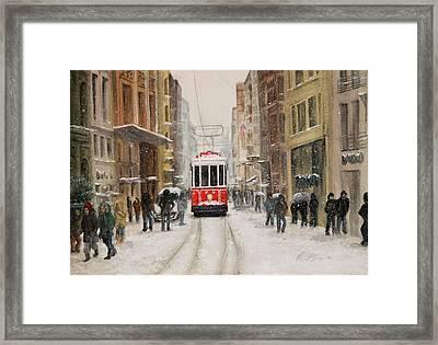 Snowy Istiklal Framed Print by Rebecca Davis