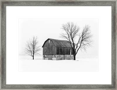 Snowy Little Barn Framed Print by Todd Klassy