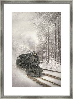 Snowy Locomotive Framed Print by Lori Deiter