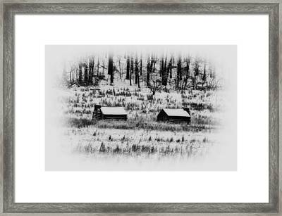 Snowy Log Cabins At Valley Forge Framed Print by Bill Cannon