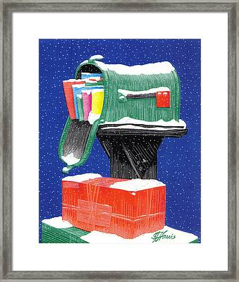 Snowy Mailbox Collage Framed Print by Jim Harris