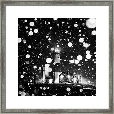 Snowy Montauk Lighthouse Bw Framed Print by Ryan Moore