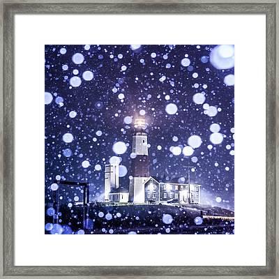 Snowy Montauk Lighthouse Framed Print by Ryan Moore