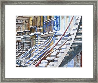 Snowy Montreal Painting Winter City Scene Iconic Winding Staircases Canadian Street Carole Spandau Framed Print