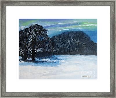 Snowy Moonlight Night Framed Print