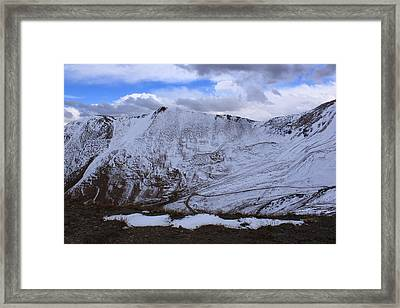 Snowy Mountain Framed Print by Angie Wingerd