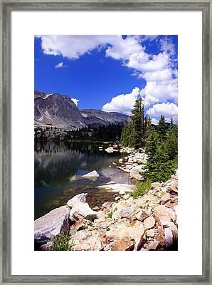 Snowy Mountain Lake Framed Print by Marty Koch