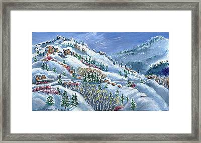Snowy Mountain Road Framed Print