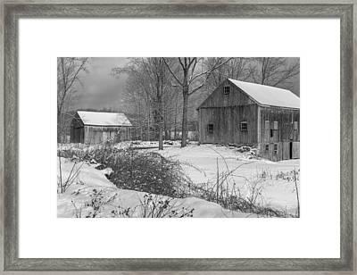 Snowy New England Barns 2016 Bw Framed Print by Bill Wakeley