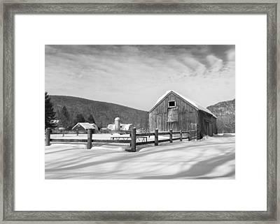 Snowy New England Barns Bw Framed Print by Bill Wakeley