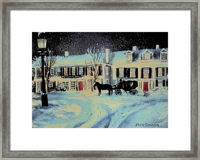 Snowy Night At The Inn Framed Print